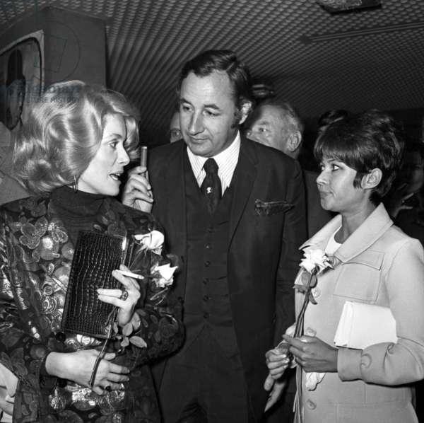 "Catherine Deneuve and Philippe Noiret at the Premiere of the film ""Clerambard"", Paris, 2 October 1969 (photo)"