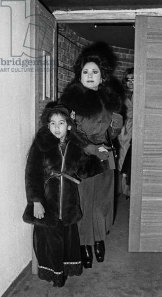 Mrs Ratna Sari Dewi Soekarno and her daughter Kartika Sari attending a show given for children of celebrities,  at the Rex, Paris, 28 October 1974 (photo)