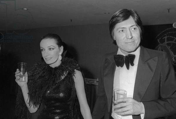 French singer and actress and her husband at the 1st Cesar Awards ceremony in the Palais des Congres de Paris on April 3, 1976