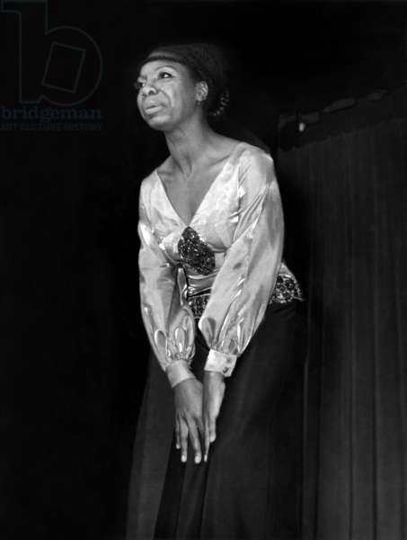 Nina Simone (Eunice Kathleen Waymon) on stage at the Olympia , Paris, 25  March 1969 (photo)