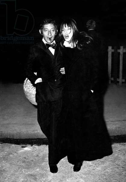 Serge Gainsbourg and Jane Birkin Going To A Party at Regine'S in Paris on November 24, 1969 (b/w photo)