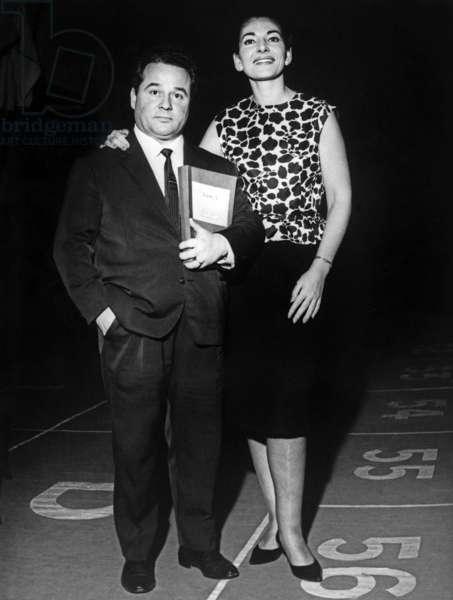 Tenor Renato Ercolani With Maria Callas in Paris December 1964 (b/w photo)