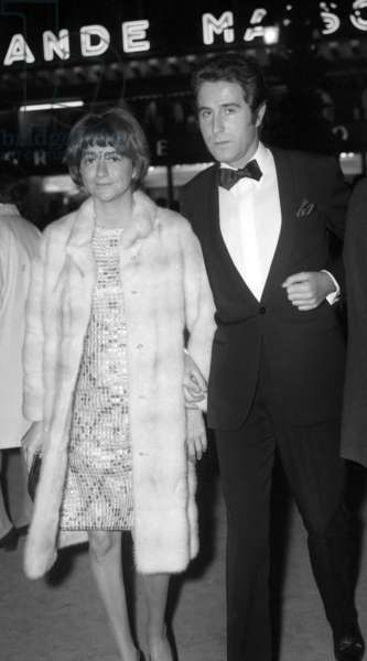 """Francoise Sagan and Jacques Chazot at the screening of the film """"Phedre"""", Paris Opera House, 15 October 1968 (photo)"""
