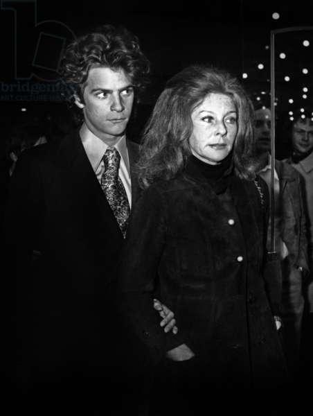 "Model Bettina and Photographer Francois Marie Banier at Premiere of Film ""Mme Boy Friend"" April 15, 1972, Paris (b/w photo)"