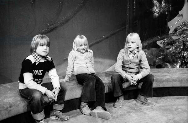 Anthony, son of Adamo and the 2 sons of Claude Francois : Marc and Claude Junior, Paris, 23 December 1976 (photo)