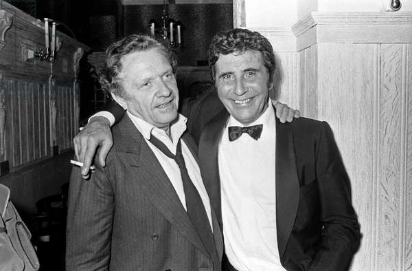 Pierre Delanoe and French Singer Gilbert Becaud after concert of Becaud at the Olympia,  Paris, 4 October 1983 (photo)