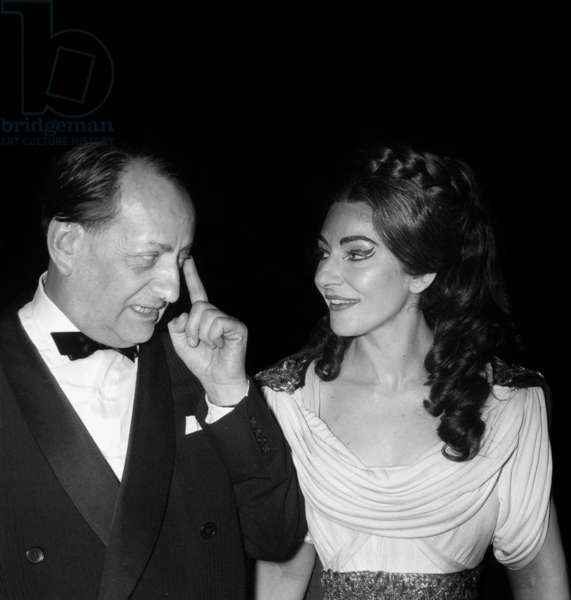 """Andre Malraux, Maria Callas after the Premiere of opera """"Norma"""", Opera House, Paris, 22 May 1964 (photo)"""