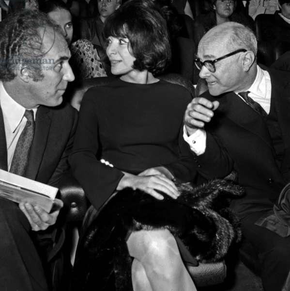 """Michel Piccoli, Juliette Greco and Pierre Lazareff  at the Premiere of the film """"Mouchette"""", Paris, 14 March 1967 (photo)"""