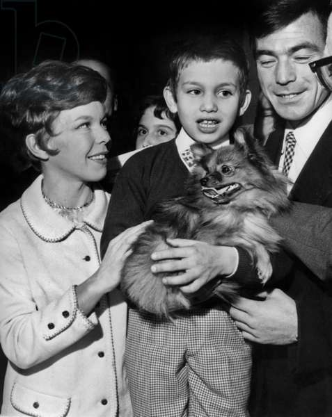 Child Actor Mehdi El Glaoui With his Mother Cecile Aubry and Actor Maurice Poli December 9, 1965 To Choose Abandoned Pet For Christmas (b/w photo)