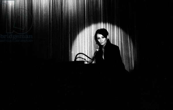 French Singer Barbara onstage in a cabaret , Paris 1971 (photo)