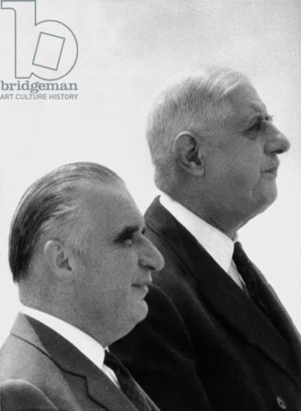 French President Charles de Gaulle at Orly Airport , Paris with Prime Minister Georges Pompidou, 1 July 1966 (photo)