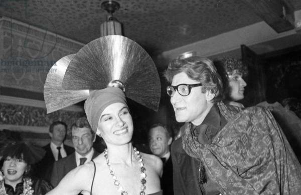 Paloma Picasso with Yves Saint Laurent at a Fancy Dress Party at Nightclub Le Palace, Paris, 13 April 1978 (photo)