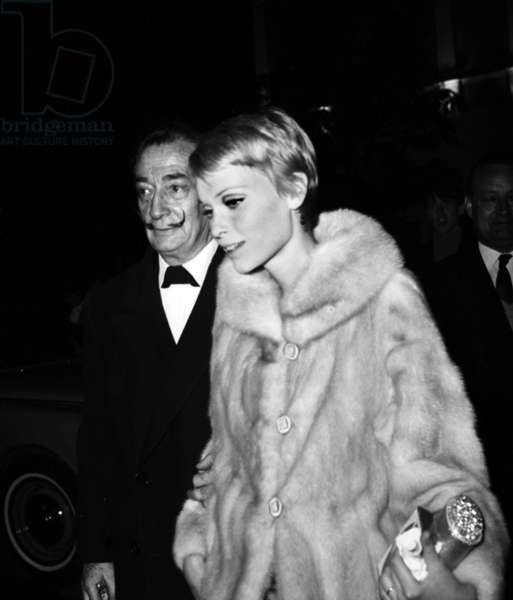 """Salvador Dali and Mia Farrow at the Premiere of the film """"The Night of the Generals"""", Paris, 19 April 1967 (photo)"""