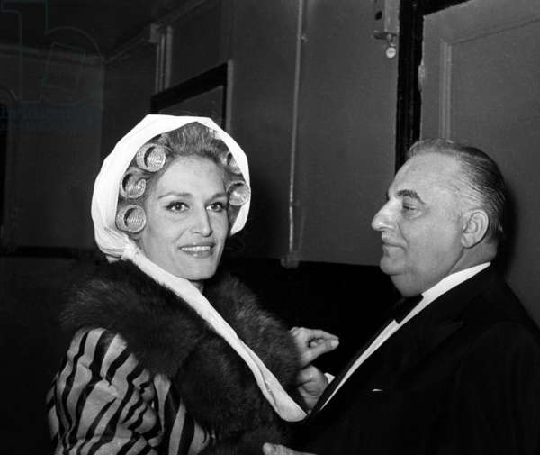 Dalida (with curlers) and Bruno Coquatrix before her concert at the Olympia, Paris, 15 January 1974  (photo)