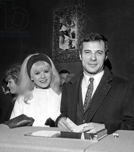 """Sophie Daumier and Guy Bedos at the Premiere of the film """"What's new Pussycat ?"""", Paris, 27 January 1966 (photo)"""