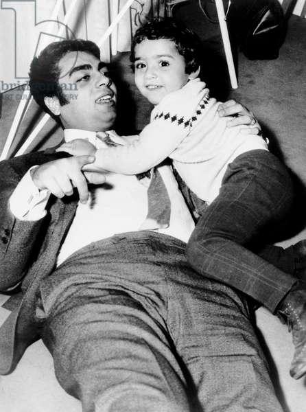 Enrico Macias and his Daughter Jocya at Home in Paris, December 1966 (b/w photo)