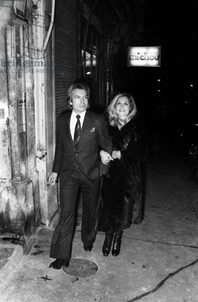 Dalida with lover Richard Chamfray count of Saint Germain after party at Michou's, Paris, 4 December 1975 (photo)