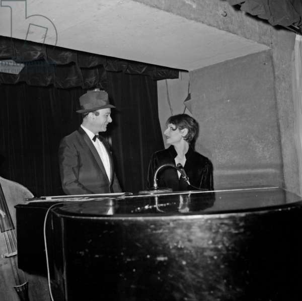 """Fernand Raynaud and French singer Barbara (Monique Andree Serf) at the cabaret """"La Tete de l'art"""", Paris, 22 May 1967 (photo)"""