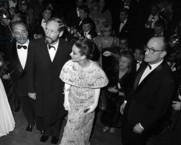 Mel Ferrer and Audrey Hepburn at the Premier of the film