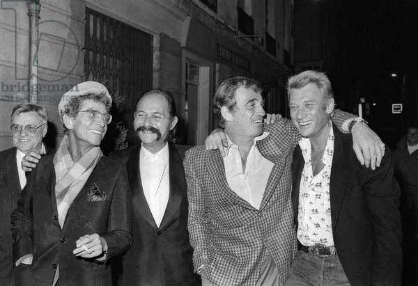 "Darry Cowl, Albert Minski, Jean-Paul Belmondo and Johnny Hallyday for the 25th Anniversary of the ""King Club"" (Nightclub), Paris, 29 October 1986 (photo)"