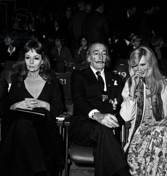 Ludmilla Tcherina, Salvador Dali and Amanda Lear at the Gala of Shanghai Circus, Paris, May 1973 (photo)