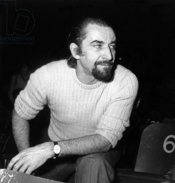 "French choreographer Maurice Bejart during the rehearsals of Ballet ""Nijinski Clown de Dieu"" , Paris, 13 January 1972 (photo)"