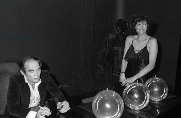 "Claudia Cardinale and Pasquale Squitieri at presentation of film """"I guappi"""", Espace Cardin, Paris, november 24, 1975"" (b/w photo)"
