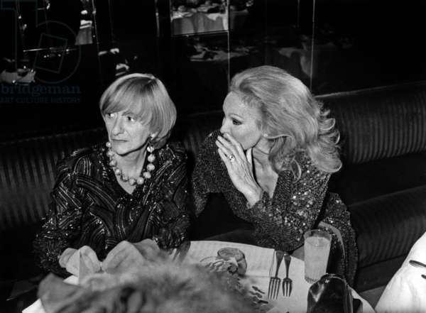"Francoise Sagan and Ursula Andress at the ""best"" dinner at the ""garage"" fashion box on October 26, 1983 (photo)"