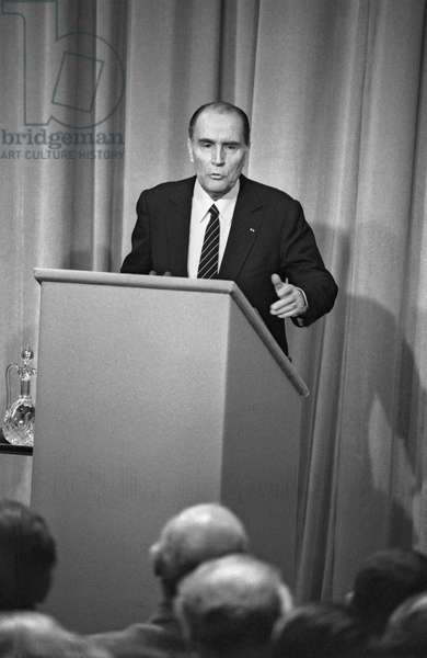 French president Francois Mitterrand during a press conference, April 4, 1984, France (b/w photo)