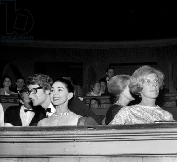 Yves Saint-Laurent, dancer Margot Fonteyn and Mrs Claude Pompidou at the Premiere of Ballet of Roland Petit, 11 March 1966 (photo)