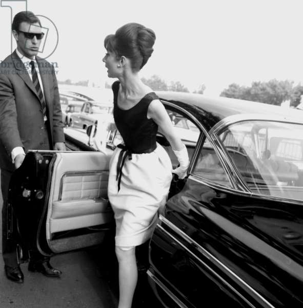 Actress Audrey Hepburn on the set film