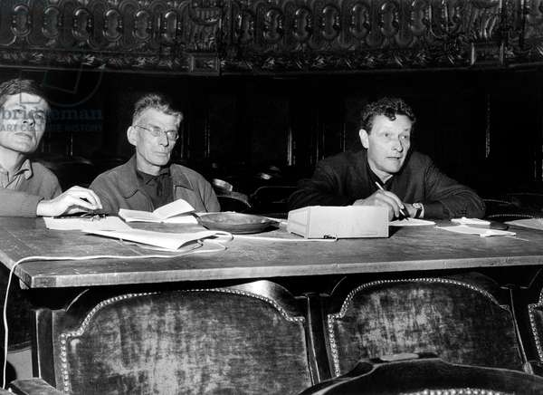 Samuel Beckett with the French Actors Roger Blain and Jean Louis Barrault during the Rehearsal of a play, 21 September 1963 (photo)