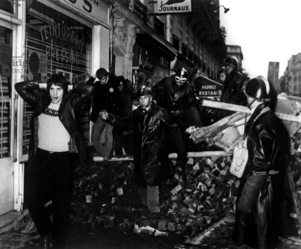 Students Are Arrested during A Demonstration in Paris on May 11, 1968 (b/w photo)