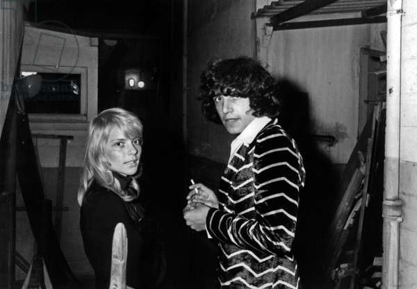 Singers Julien Clerc and France Gall at the Premiere of GuyBedos 's show , Paris 17 September 1970 (photo)
