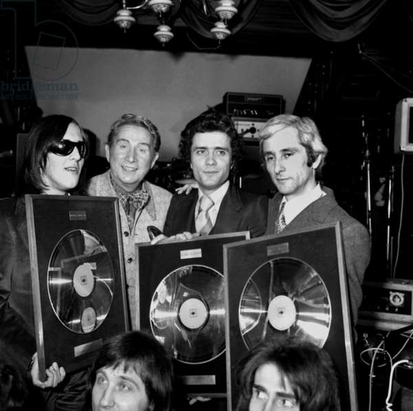 Singers Gilbert Montagne, Charles Trenet, Gianni Nazzaro and Marcel Amont  at Ceremony of the Golden Disc during the Midem, Cannes, France, 23 January 1973 (photo)