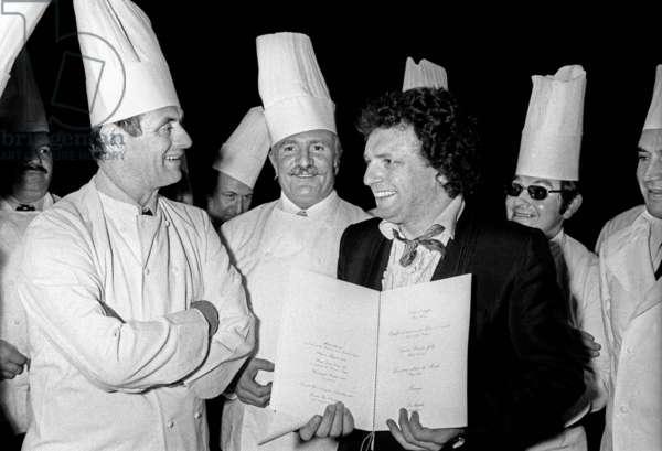 Paul Bocuse (French chef) with Jacques Martin, Theatre des Varietes, Paris, 26 February 1975 (photo)