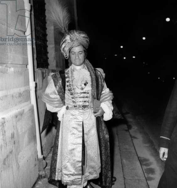 Jean-Claude Brialy at the Oriental Fancy Dress Ball of Baron de Rede, Lambert Hotel, Paris, 6 December 1969 (photo)