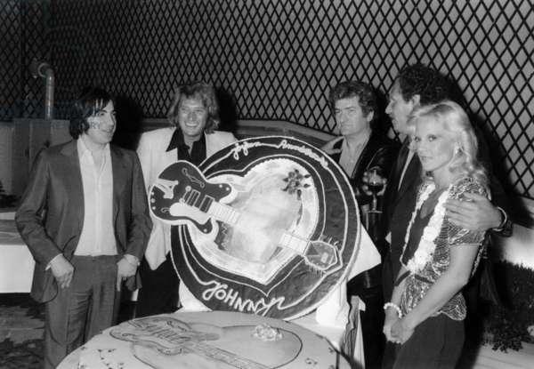 Serge Lama, Johnny Hallyday, Eddy Mitchell, Mort Shuman and Sylvie Vartan at Johnny Hallyday's Birthday, 19 June 1979 (photo)