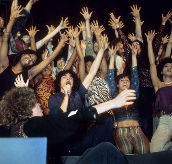 "French Singer Julien Clerc in the musical ""Hair"", Paris, 1969 (photo)"