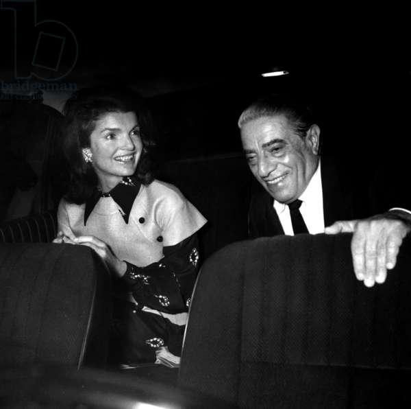 Jackie Kennedy Onassis and her Husband Aristotle Onassis leaving Maxim's Restaurant, Paris, 29 May 1972 (photo)