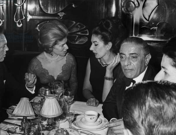 Marie Helene De Rothschild, Maria Callas and Aristote Onassis during A Dinner at Maxim'S Restaurant (Paris) For Film Zorba The Greek on March 4, 1965 (b/w photo)