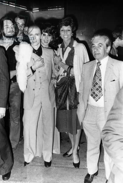 Singer David Bowie at Alcazar Parisian Cabaret May 18, 1976 With Romy Haag Behind his Shoulder (b/w photo)