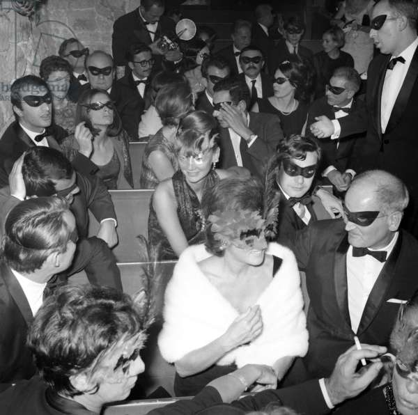 """Audience at the Premiere of the play """"Philosophy in the Bedroom"""" by Marquis de Sade at """"La Grande Severine"""", Paris, October 9, 1964 (photo)"""