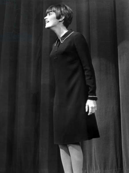French Singer Mireille Mathieu on Stage at Olympia December 31, 1965 (b/w photo)