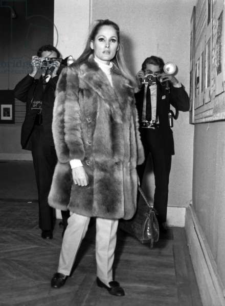Actress Ursula Andress at charity sale, 14 December 1966 (photo)