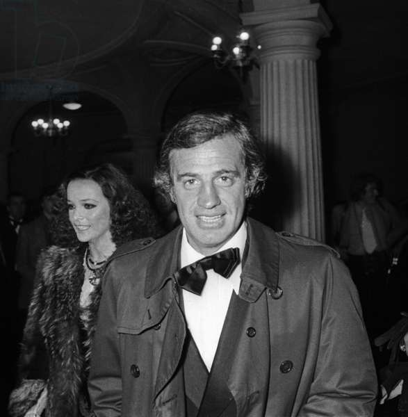 Laura Antonelli and Jean Paul Belmondo the day Louis Seigner left the Comedie Francaise, 23 April 1974 (photo)