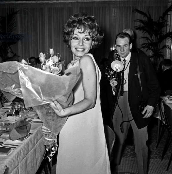 "Andrea Parisya at the Premiere of the film ""The Little Bather"", Paris, 21 march 1968 (photo)"