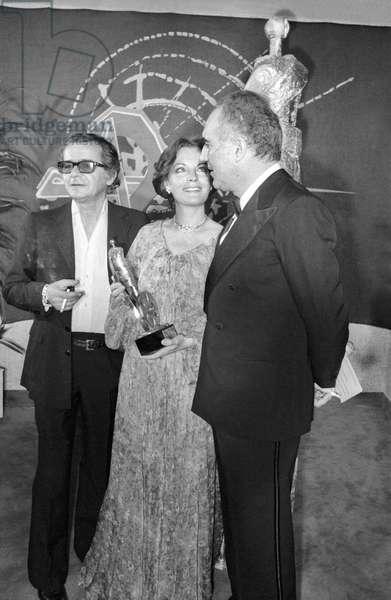Serge Reggiani, Romy Schneider et Michel Piccoli (b/w photo)