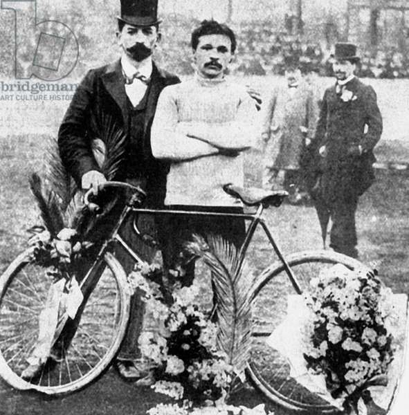 Maurice Garin, who won the 1st Tour de France in 1903, here probably after winning a cycling race c. 1897-1898