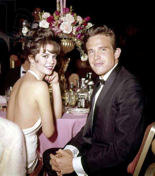 Natalie Wood and Warren Beatty at party after Academy Awards ceremony, April 9, 1962